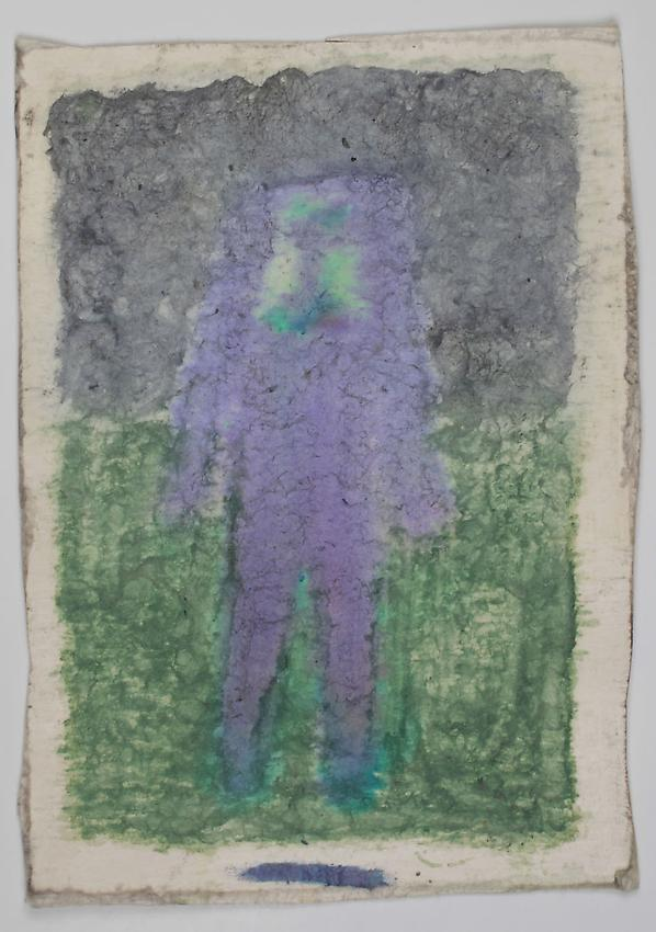 James Castle<br />Untitled<br />no date<br />Found paper, color of unknown origin <br />6 3/4 x 4 7/8 inches <br />(17.1 x 12.4 cm) <br />PF2883<br />