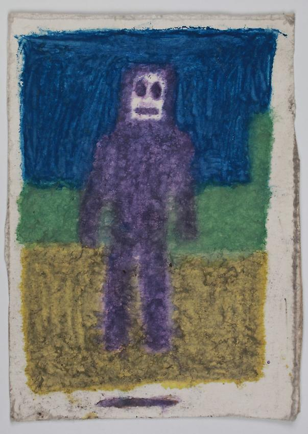 James Castle<br />Untitled<br />no date<br />Found paper, color of unknown origin <br />6 3/4 x 4 7/8 inches <br />(17.1 x 12.4 cm)<br />PF2893<br />