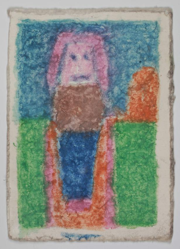 James Castle<br />Untitled<br />no date<br />Found paper, color of unknown origin <br />6 7/8 x 4 3/4 inches (17.5 x 12.1 cm) <br />PF2895<br />