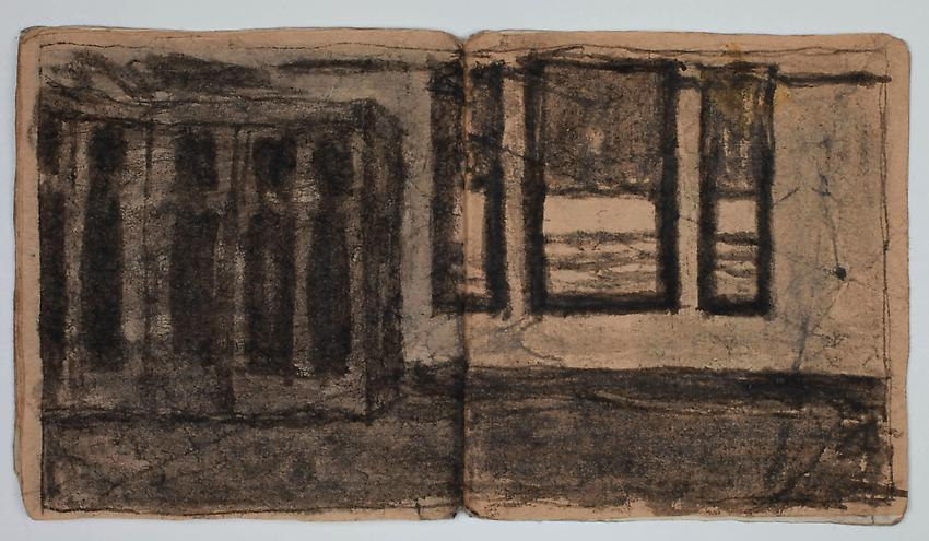 James Castle<br />Untitled<br />no date<br />8 pps, found paper, soot, string <br />3 3/8 x 3 1/8 inches <br />(8.6 x 7.9 cm) <br />PF2898<br />