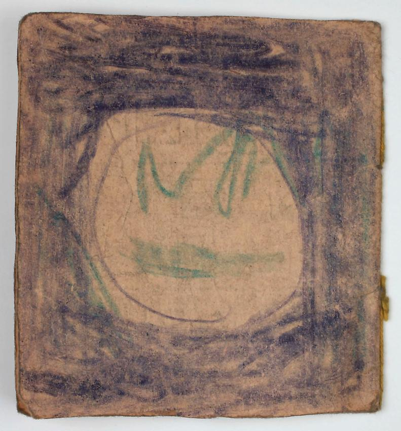 James Castle<br />Untitled<br />no date<br /> 8 pps, found paper, soot, string, crayon <br />3 3/8 x 3 1/8 inches <br />(8.6 x 7.9 cm) <br />PF2999<br />