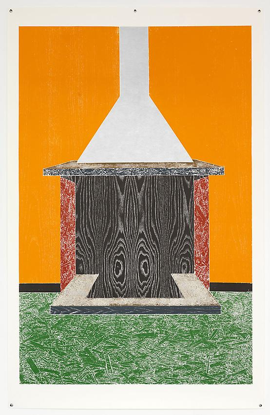 THOMAS SCHÜTTE<br /><i>Chimney</i><br />2011<br />woodcut<br />99 7/16 x 63 9/16 inches (252.5 x 161.5 cm)<br />Edition 4/12 + 3 A.P.<br />