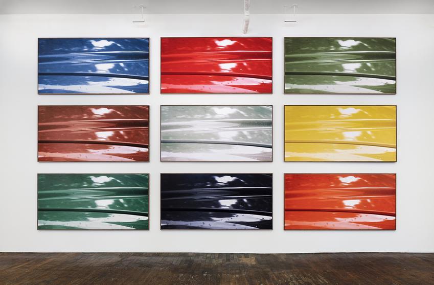 JAN DIBBETS<br /><br /><i>Palette</i><br />1976/2012<br />Fujicolor Crystal archive paper DPII glued on Dibond, in nine parts<br />each: 49 1/4 x 98 1/2 <br />  (125 x 250 cm)<br />Edition Unique<br />PF4359<br />