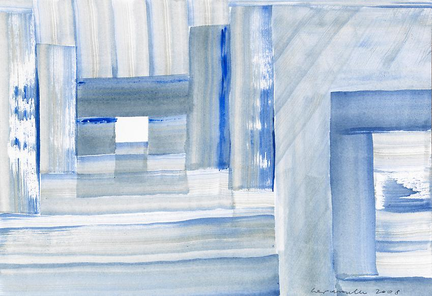 ERNST CARAMELLE<br /><i>White space ahead</i><br />2008<br />watercolor on paper<br />7 1/16 x 10 1/4 inches (18 x 26 cm)<br />