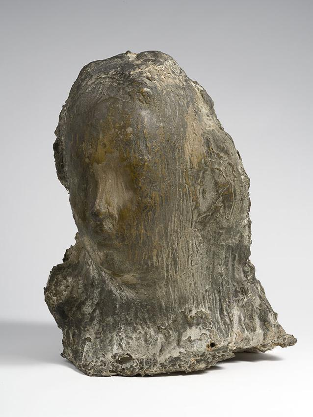 Medardo Rosso (1858 - 1928)<br /><br />Ecce Puer<br />1906; thought to be cast 1907-1913<br />cast bronze<br />17 5/8 x 14 11/16 x 14 3/8 inches<br />(44.8 x 37.3 x 36.5 cm)<br />PF3986<br />