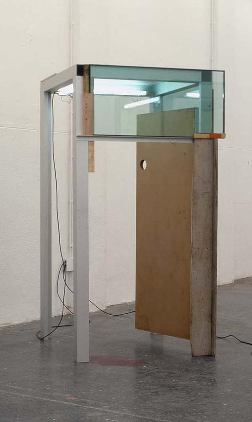 PEDRO CABRITA REIS<br /><I>Favorite Places #2</I><br />2004<br />aluminum, wood, glass and light<br />94 1/2 x 51 9/16 x 50 13/16 inches (240 x 131 x 129 cm)<br />