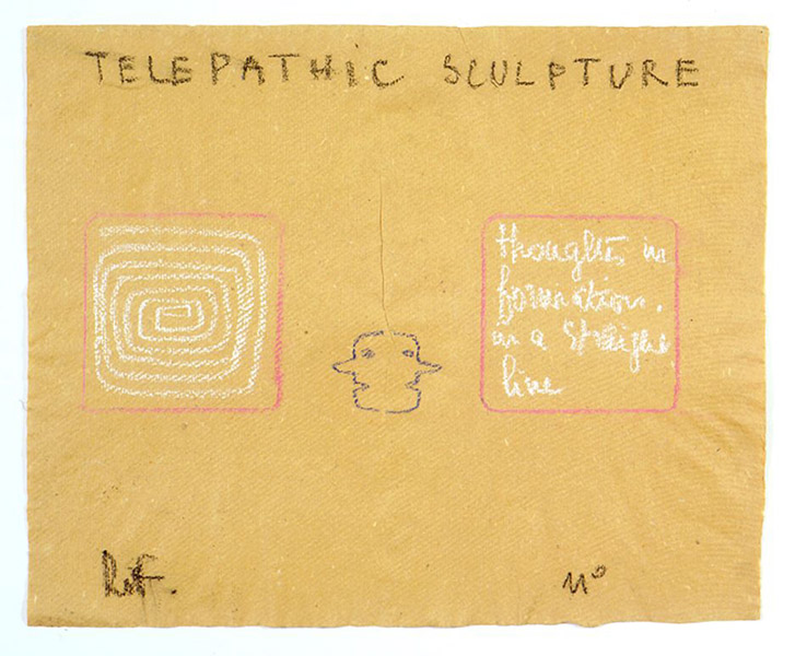Robert Filliou&lt;br /&gt;Telepathic Sculpture&lt;br /&gt;c. 1975&lt;br /&gt;pastel on paper&lt;br /&gt;14 9/16 x 17 3/4 inches (37 x 45 cm)&lt;br /&gt;