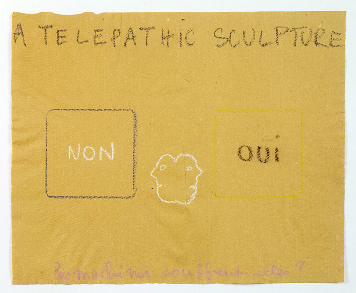 Robert Filliou<br />Telepathic Sculpture<br />c. 1975<br />pastel on paper<br />14 9/16 x 17 3/4 inches (37 x 45 cm)<br />