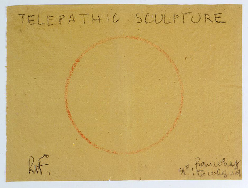 Robert Filliou&lt;br /&gt;Telepathic Sculpture&lt;br /&gt;c. 1975&lt;br /&gt;pastel on paper&lt;br /&gt;17 3/4 x 23 5/8 inches (45 x 60 cm)&lt;br /&gt;