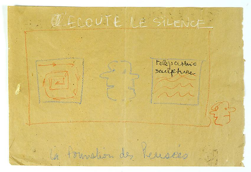 Robert Filliou<br />Ecoute le silence<br />c. 1975<br />pastel on paper<br />16 1/4 x 24 inches (41.3 x 61.2 cm)<br />