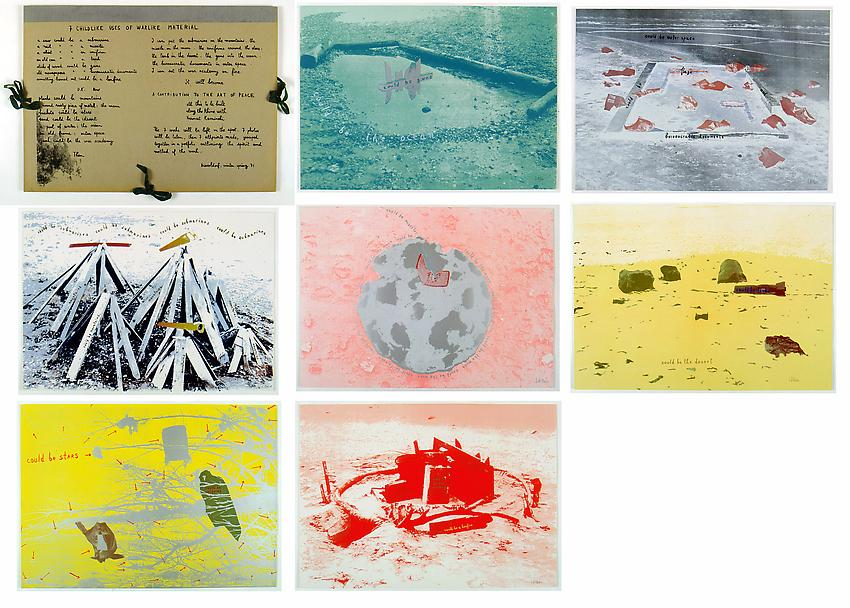 Robert Filliou<br />7 Childlike Uses of Warlike Material<br />1971<br />portfolio of 7 silkscreen prints<br />19 1/2 x 27 3/8 inches each<br />(49.5 x 69.5 cm chaque)<br />Edition of 100 Ed. Harmut Kaminski<br />