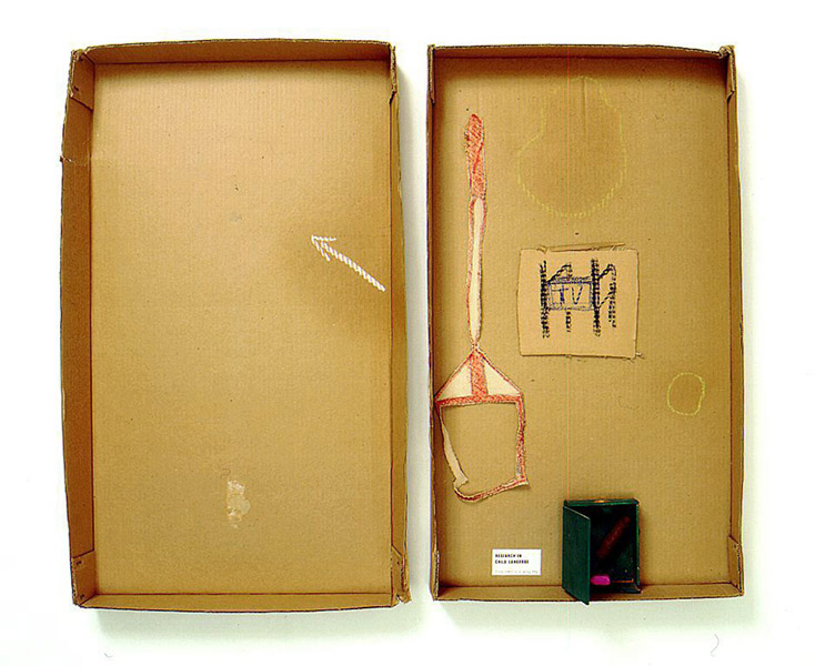 Robert Filliou<br />Research in Child Language<br />c. 1973<br />cardboard box in two parts with glued paper,<br />wooden box, cigar, chalk, fabric and pastel<br />top: 29 1/2 x 17 5/8 x 2 5/8 inches<br />(74.9 x 44.8 x 6.7 cm)<br />bottom: 28 7/8 x 16 3/8 x 2 3/4 inches<br />(73.3 x 41.6 x 7 cm)<br />