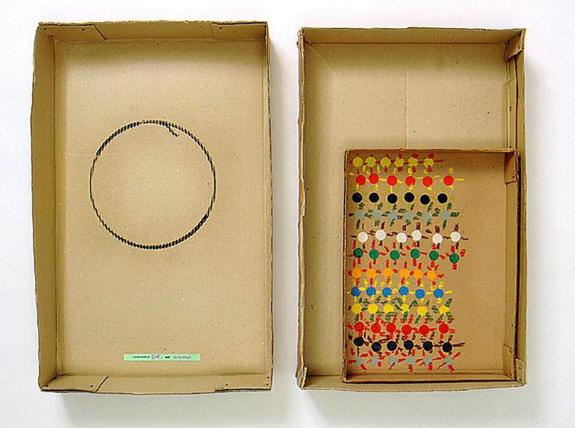 Robert Filliou<br />A Joint Work of RF and Suns<br />1973<br />cardboard box in two parts, cardboard box lid,<br />glued paper, pastel<br />top: 26 x 17 x 4 1/8 inches<br />(66 x 43.2 x 10.5 cm)<br />bottom: 25 1/2 x 15 7/8 x 4 3/8 inches<br />(64.8 x 40.3 x 11.1 cm)<br />