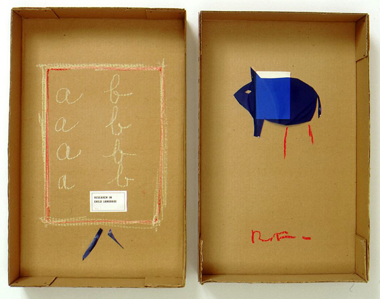 Robert Filliou<br />Research in Child Language (aïe!)<br />1970-71<br />cardboard box in two parts, glued paper, blue<br />lighting gel, pastel and pen<br />top: 21 1/2 x 13 5/8 x 3 1/4 inches<br />(54.6 x 34.6 x 8.3 cm)<br />bottom: 20 7/8 x 13 3/8 x 3 3/8 inches<br />(53 x 34 x 8.6 cm)<br />