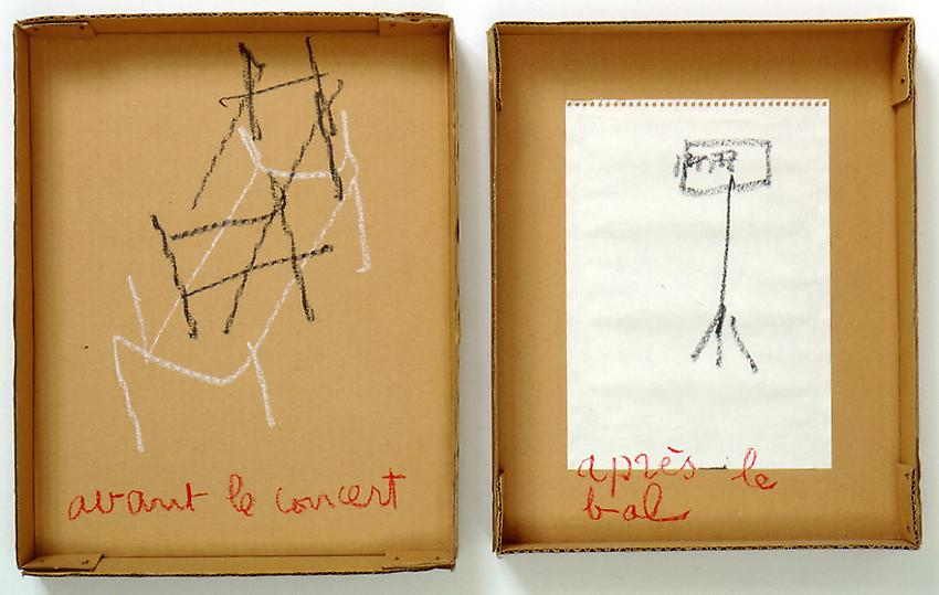 Robert Filliou<br />Avant le concert après le bal<br />1971<br />carboard box in two parts with glued paper<br />and pastel<br />top: 13 3/4 x 10 7/8 x 2 1/8 inches<br />(34.9 x 27.6 x 5.4 cm)<br />bottom: 13 x 10 1/2 x 2 inches<br />(33 x 26.7 x 5.1 cm)<br />