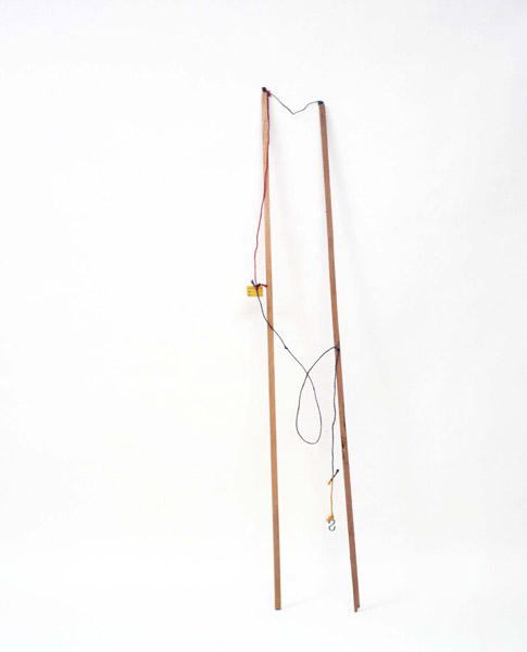 Robert Filliou<br />Pour pêcher à deux la lune<br />1962-84<br />wooden sticks, S-hook, nail, colored twine, ink<br />on paper<br />approximately 72 3/4 x 19 5/8 x 19 5/8 inches<br />overall (185 x 50 x 50 cm)<br />