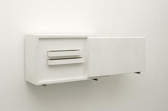 HARALD KLINGELHÖLLER<br /><i>Waldrand gespiegelt, Schrankversion</i><br />(edge of a forest mirrored, cabinet version), 2006<br />plaster and steel<br />15 3/8 x 10 1/4 x 44 1/16 inches (39 x 26 x 112 cm)<br />
