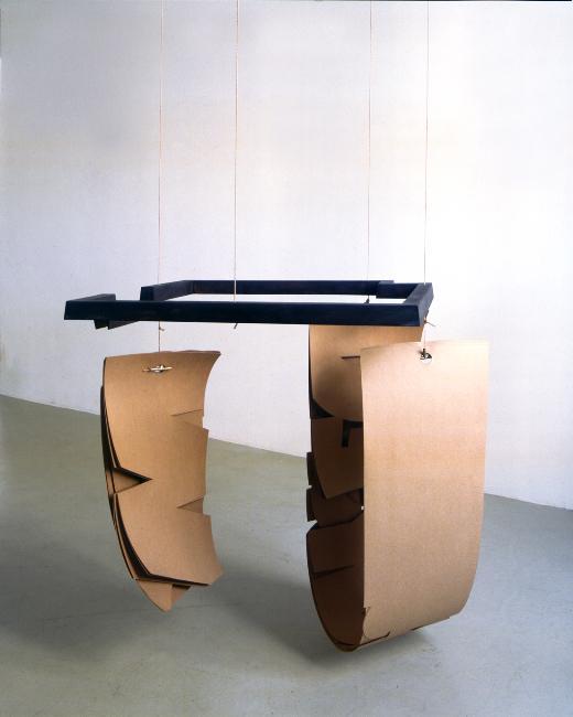 HARALD KLINGELHÖLLER<br /><i>Im Rücken die Hitze einer brennenden Welt (In the back the heat of a bruning world)</i><br />1997<br />bronze, paper, rope<br />41 5/16 x 29 1/8 x 29 1/8 inches (105 x 74 x 74 cm)<br />