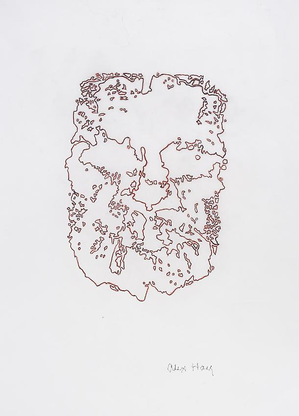 Alex Hay<br />Face Print<br />2013<br />powdered charcoal and gum arabic on japanese rice paper<br />12 1/2 x 8 7/8 inches<br />(31.8 x 22.5 cm)<br />PF3007a<br />
