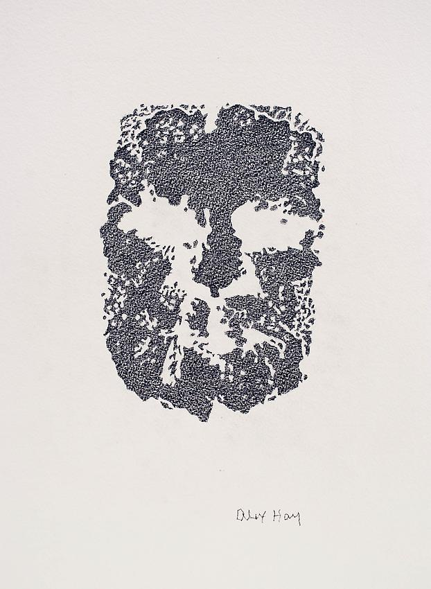 Alex Hay<br />Face Print<br />2013<br />color pencil on watercolor paper<br />18 1/2 x 13 3/4 inches<br />(47 x 34.9 cm)<br />PF3007c<br />