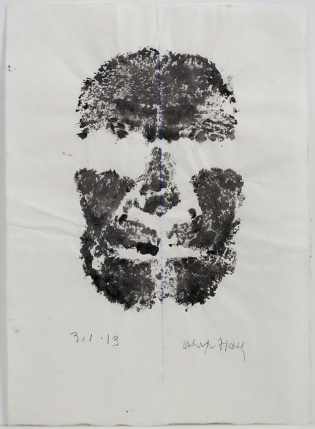 Alex Hay<br />Face Print<br />2013<br />powdered charcoal and gum arabic on japanese rice paper<br />12 3/4 x 8 7/8 inches<br />(32.4 x 22.5 cm)<br />PF3010a<br />