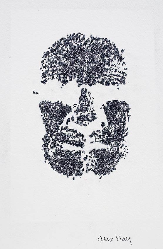 Alex Hay<br />Face Print<br />2013<br />color pencil on watercolor paper<br />18 1/2 x 13 3/4 inches<br />(47 x 34.9 cm)<br />PF3010c<br />