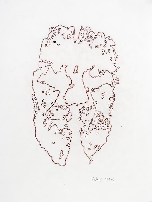 Alex Hay<br />Face Print<br />2013<br />red pencil and graphite on velum<br />15 x 12 inches<br />(38.1 x 30.5 cm)<br />PF3013b<br />