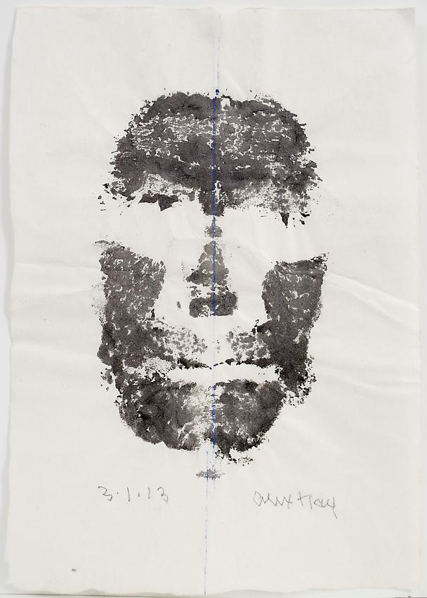 Alex Hay<br />Face Print<br />2013<br />powdered charcoal and gum arabic on japanese rice paper<br />12 3/4 x 9 1/16 inches<br />(32.4 x 23 cm)<br />PF3022a<br />