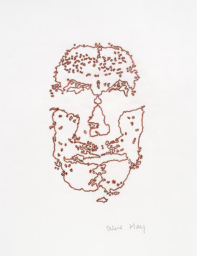 Alex Hay<br />Face Print<br />2013<br />red pencil and graphite on velum<br />16 5/8 x 11 3/4 inches<br />(42.2 x 29.9 cm)<br />PF3022b<br />