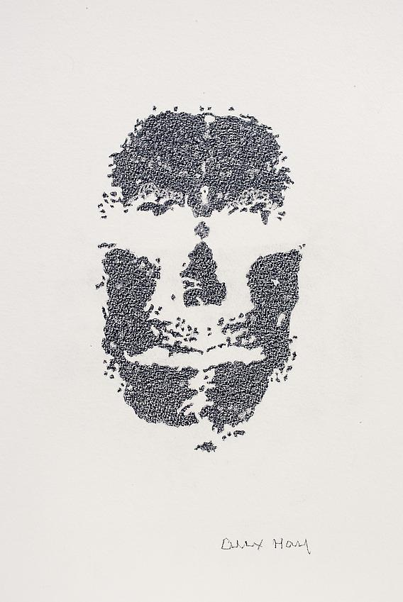 Alex Hay<br />Face Print<br />2013<br />color pencil on watercolor paper<br />18 5/8 x 13 3/4 inches<br />(47.3 x 34.9 cm)<br />PF3022c<br />