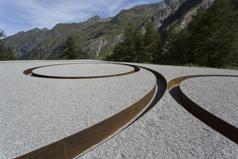 MICHAEL HEIZER<br /><br /><i>Tangential Circular Negative Line</i><br />1968-2012<br />Corten steel<br />2 x 112 1/2 x 75 feet <br />  (.61 x 34.3 x 22.9 meters)<br /><br />commissioned by Air & Art Foundation for Bagnes, Valais, Switzerland<br />image by Robert Hofer<br />
