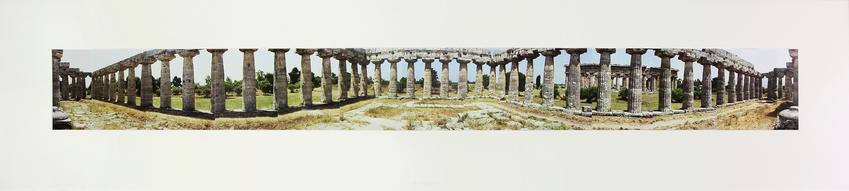<u>Paestum Panorama</u><br />1980<br />collage of 13 color Fuji Crystal Archive prints, mounted on board<br />Board: 21 7/8 x 96 1/4 inches (55.5 x 244.5 cm)<br />Overall: 21 7/8 x 96 1/4 inches (57.5 x 246.5 cm)<br />Unique<br />Signed and dated<br />