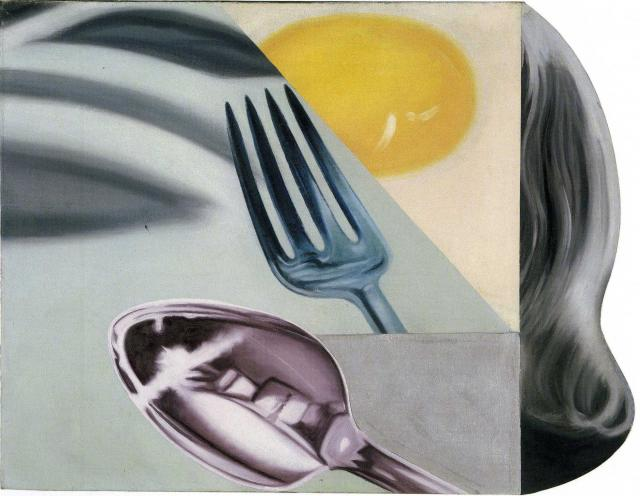 JAMES ROSENQUIST (1933 – 2017)<br /><br /><i>Coenties Slip Studio</i><br />1961<br />oil on canvas<br />34 x 43 inches<br />  (86.4 x 109.2 cm)<br /><br />Courtesy the Estate of James Rosenquist<br />