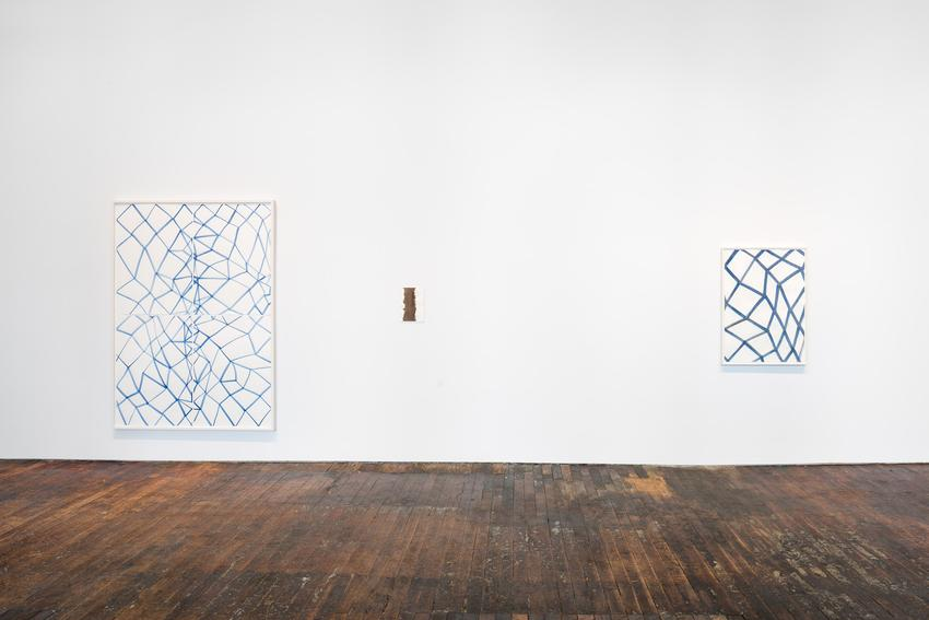 Silvia Bächli<br />installation view<br />Peter Freeman, Inc.<br />September 2015<br /><br />(works, left to right) <br />Untitled (Nr. 2)<br />2015<br />gouache on paper in 4 parts<br />80 3/4 x 57 1/8 inches<br />(205.2 x 145.2 cm)<br />PF3738<br /><br />Untitled<br />2015<br />gouache on paper in artist's frame<br />12 1/4 x 8 5/8 inches<br />(31 x 22 cm)<br />PF3715<br /><br />Untitled<br />2015<br />gouache on paper<br />40 1/8 x 28 5/16 inches<br />(102 x 72 cm)<br />PF3742<br />