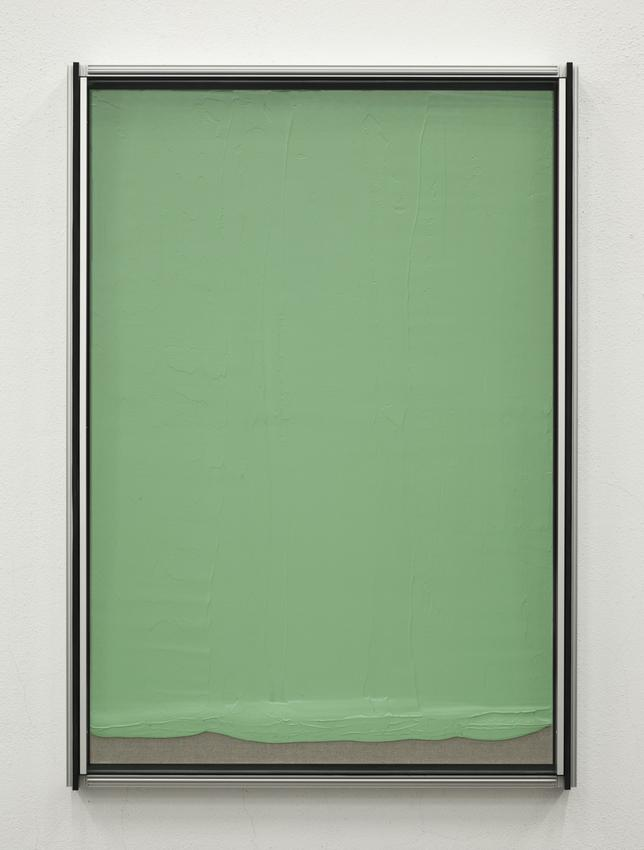 <u>Les verts #1, 2011</u><br />aluminum, double laminated glass, acrylic on raw canvas<br />67 1/2 x 47 13/16 x 5 5/16 inches (171.5 x 121.5 x 13.5 cm)<br />