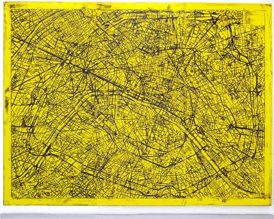 <u>untitled</u> (Paris Street Map)<br />2011<br />acrylic, oilstick on canvas, rubbing<br />3 panels, each: 120 x 52 1/2 inches (305 x 133 cm)<br />overall: 120 x 157 1/2 inches (304.8 x 398.7 cm)<br />
