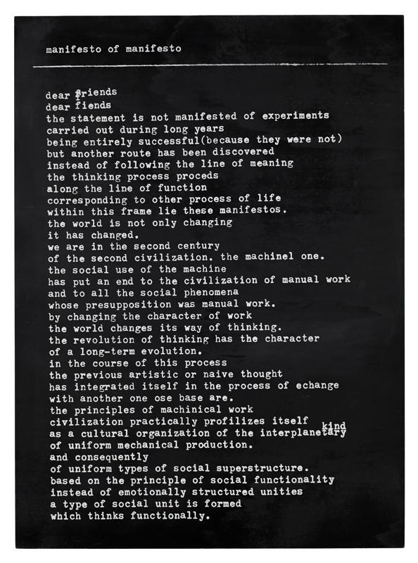 Dimitrije Bašičević Mangelos (1921-1987)<br /><br />Manifesto of manifesto <br />1978<br />silkscreen and spray paint on wood panel<br />29 1/2 x 21 5/8 x 1/2 inches<br />(75 x 55 x 1.3 cm)<br />PF4076<br />