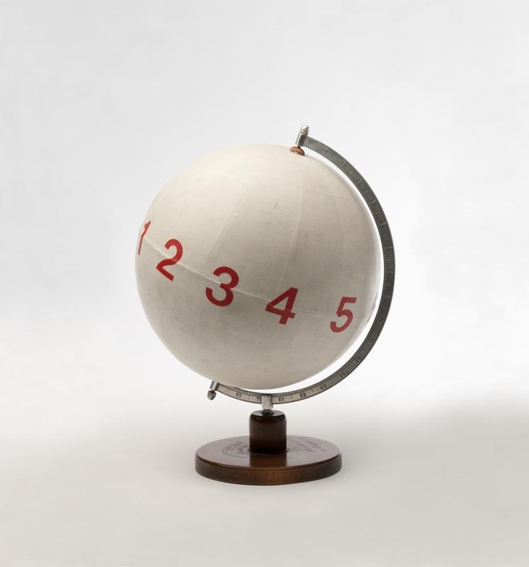 MANGELOS [DIMITRIJE BAŠIČEVIĆ] (1921-1987)<br />Numberconcept Pitagoras<br />c. 1977-1978<br />plastic letters, acrylic on globe made from wood,<br />metal and paper<br />18 1/2 x diameter 14 1/4 inches<br />(47 x diameter 36 cm)<br />