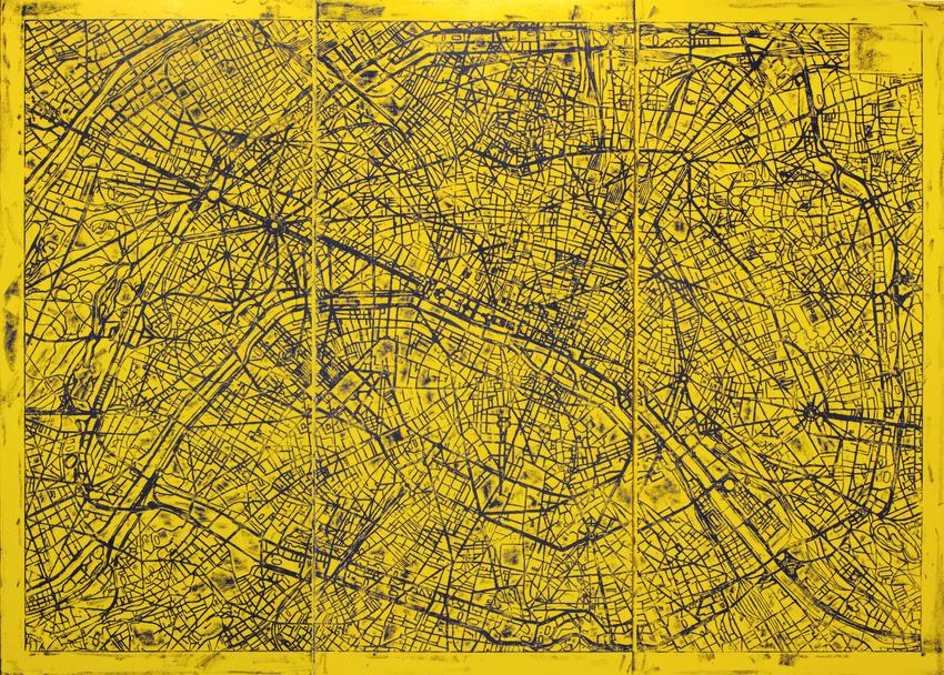 MATT MULLICAN<br />Untitled (Paris Street Map)<br />2011<br />acrylic and oil stick on canvas in three parts<br />overall: 120 x 157 1/2 inches<br />  (304.8 x 400 cm)<br />
