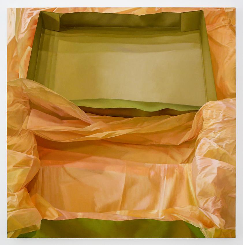 Catherine Murphy<br />Gift Box<br />2013<br />oil on canvas<br />54 x 55 inches <br />  (137.16 x 139.7 cm)<br />