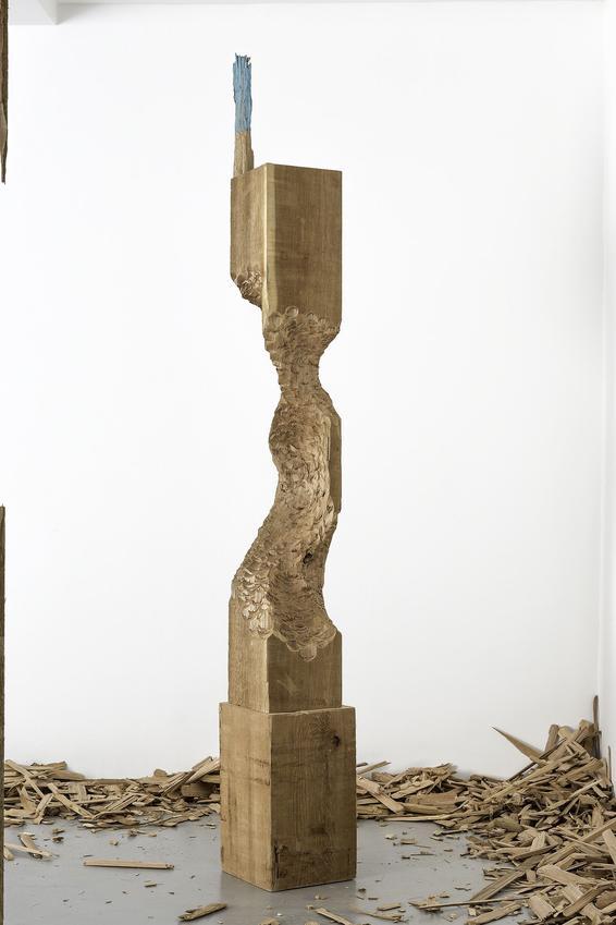 <u>untitled</u><br />2012<br />cedar wood, oil paint<br />99 5/8 x 11 13/16 x 12 inches (253 x 30 x 30.5 cm)<br />