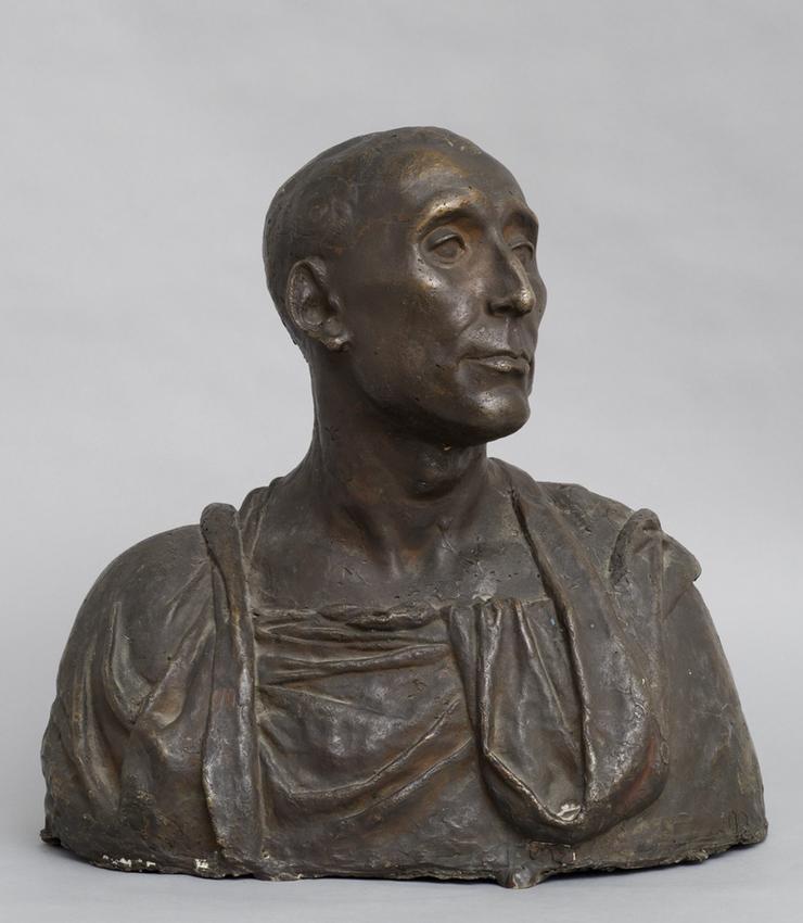 Medardo Rosso (1858 - 1928)<br /><br />Niccolò Da Uzzano <br />(after Donatello)<br />1895; thought to be cast 1902-1903<br />cast bronze<br />18 1/2 x 19 x 10 3/4 inches<br />(47 x 48.3 x 27.3 cm)<br />PF3972<br />