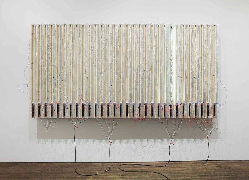 PEDRO CABRITA REIS<br /><i>One Left</i><br />2014<br />enamel on 30 fluorescent lights, wood, aluminum tubing, electrical ballasts, wiring<br />74 3/4 x 143 x 23 inches (190 x 363 x 58 cm)<br />