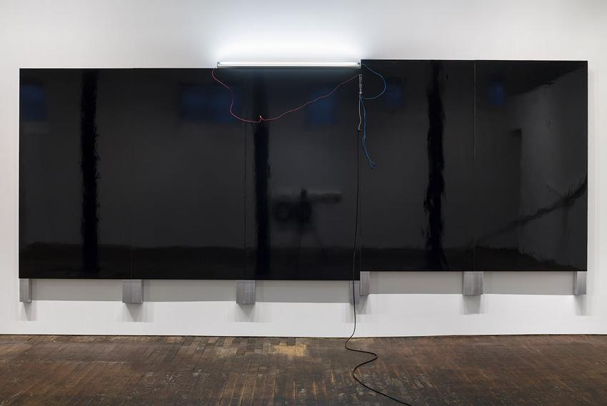<u>Large Black Painting (New York)</u><br />2014<br />black auto body paint on marine-grade plywood, aluminum tubing, fluorescent light, electrical ballast, wiring<br />103 x 246 x 4 3/4 inches (262 x 625 x 12 cm)<br />