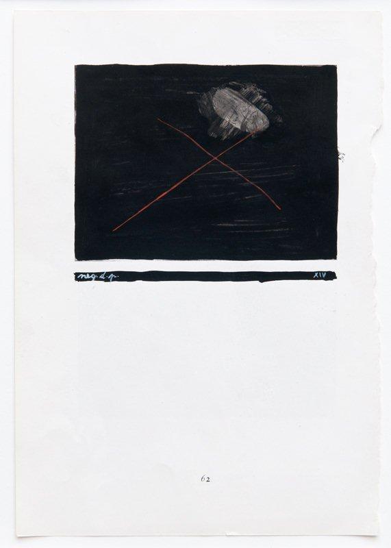 MANGELOS [DIMITRIJE BAŠIČEVIĆ] (1921-1987)<br />Negation de la peinture<br />m. 5 (1951-1956)<br />tempera on printed paper<br />9 3/8 x 6 1/2 inches (23.8 x 16.6 cm)<br />