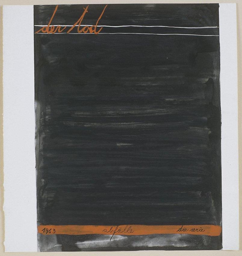 MANGELOS [DIMITRIJE BAŠIČEVIĆ] (1921-1987)<br />Der Tod [Death]<br />(Abfälle, a series)<br />1963<br />tempera on printed paper<br />8 1/4 x 7 7/8 inches (20.9 x 20 cm)<br />