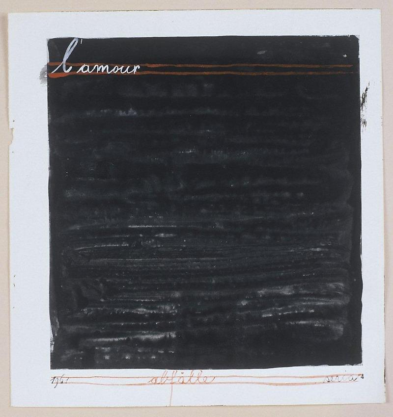MANGELOS [DIMITRIJE BAŠIČEVIĆ] (1921-1987)<br />L'amour<br />(Abfälle, a series)<br />1961<br />tempera on printed paper<br />8 1/4 x 7 3/4 inches (21 x 19.8 cm)<br />