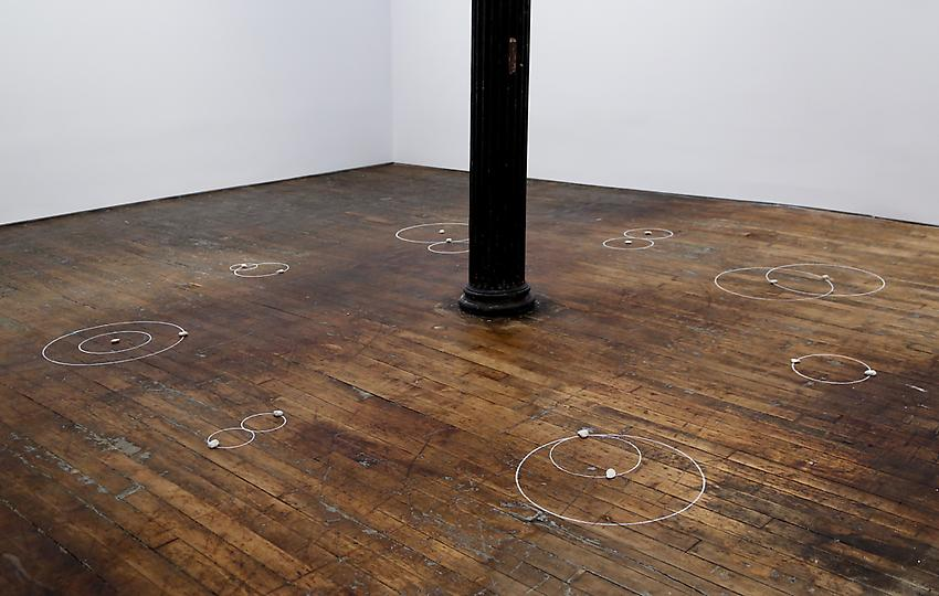 Mel Bochner<br />Vicious Circles<br />1973<br />stones and chalk on floor<br />size determined by installation<br />