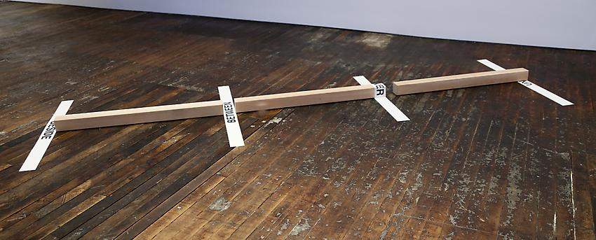 Mel Bochner<br />Prepositional Sculpture<br />1969<br />tape, vinyl, and wood on floor<br />4 x 156 x 48 inches (10.2 x 396.2 x 121.9 cm)<br />