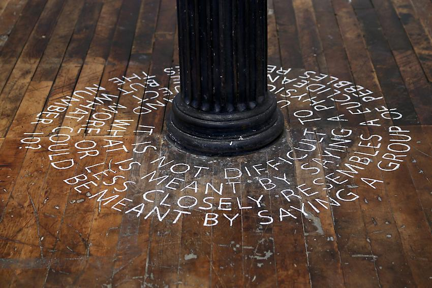 Mel Bochner<br />Quotation (spiral)<br />1972<br />chalk on floor<br />size determined by installation<br />